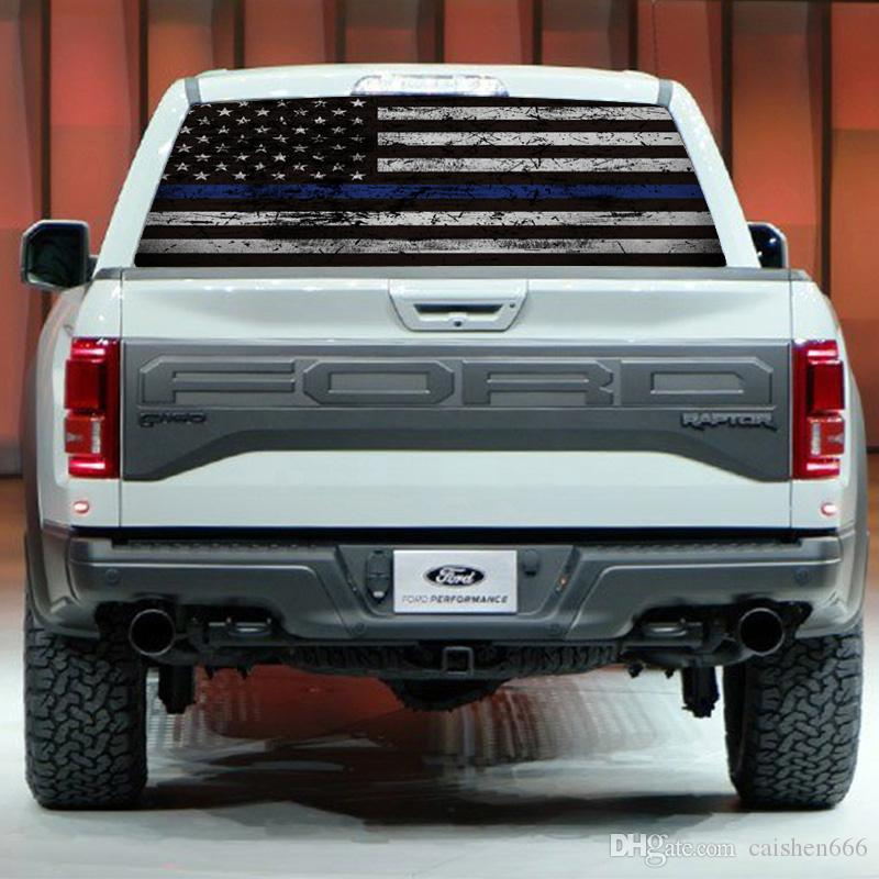 Truck Back Window Decals >> 2019 Flag Blue Stripes Pickup Truck Rear Window Decal Suv Car Sticker From Caishen666 28 15 Dhgate Com