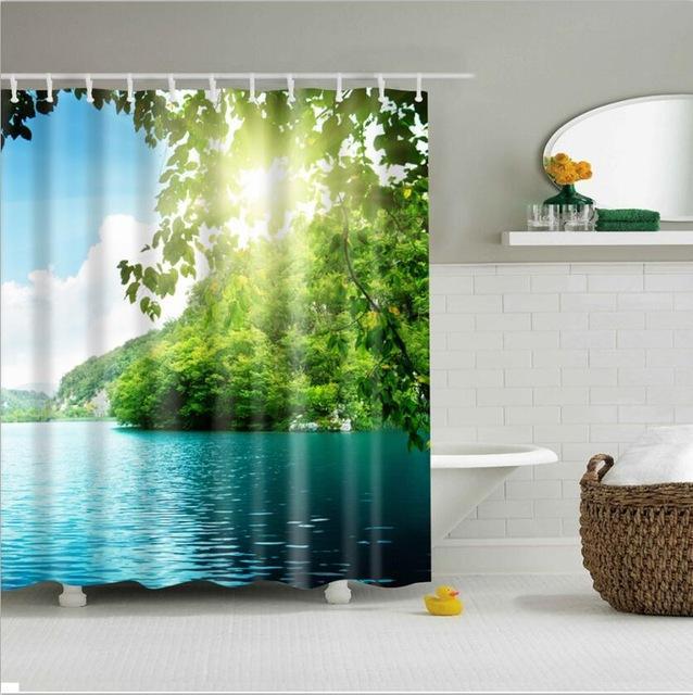duschdraperi med 인두 녹색 열대 식물 샤워 커튼 목욕탕 방수 폴리에스테 샤워 커튼 잎 인쇄 커튼