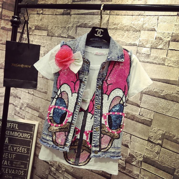 유럽 스타일 글로리아 청바지 여성 여성 패션 자수 만화 장식 조각 양복 조끼 소녀 레이디 슬림 데님 조끼 조끼 탑스