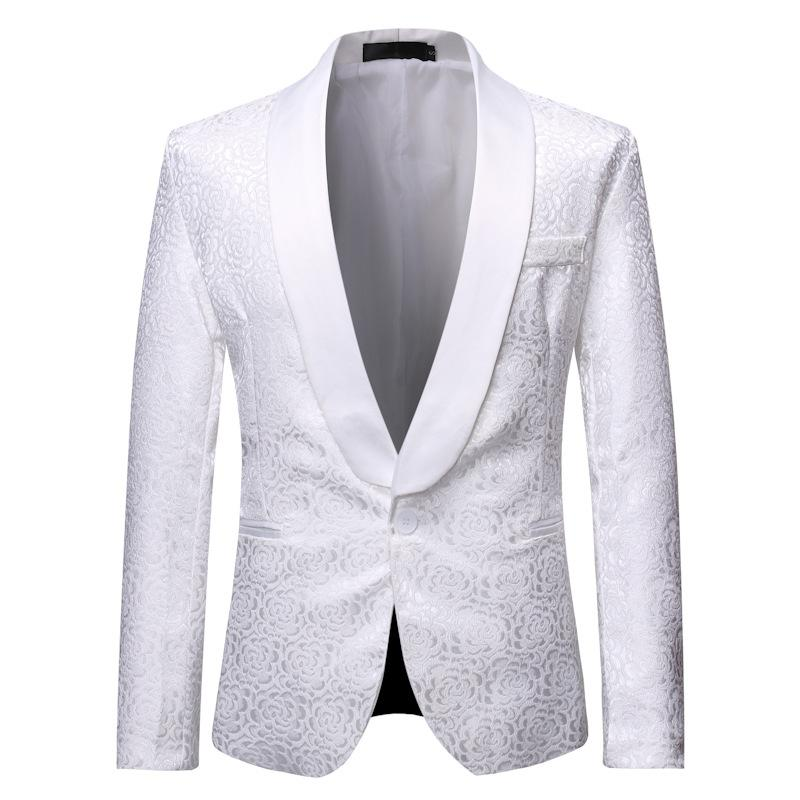 Men Casual Slim Fit Floral Formal One Button Suit Blazer Tuxedo Coat Jacket Tops