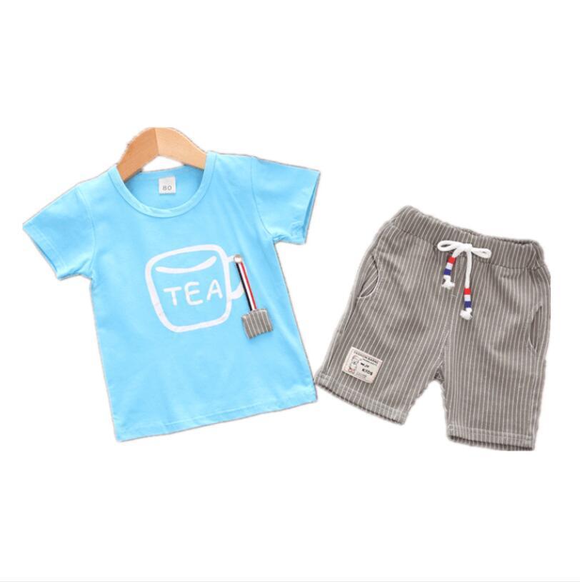 мода смайлик набор печати 2Pcs Infant Baby Дети Мальчики Письмо печати улыбка Tops + брюки Комплекты одежды Set