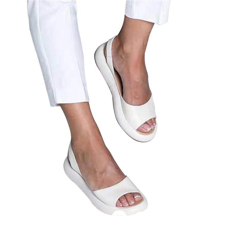 Plattform-Strand-Schuhe Keilabsatz Fest geöffnete Zehe beiläufigen Slips-on-Frühlings-Sommer-Frauen Sandalen Mode Weibliche starke untere Flip Flops