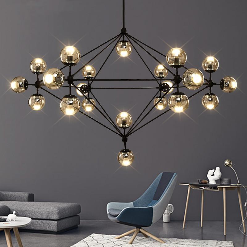 design italiano stanza Globe Lampadario Illuminazione Soggiorno Camera da letto Isola della cucina bolla di vetro lustro lampadario Black Rose Colore Oro
