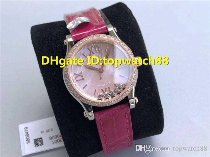 Diamonds Top felizes Ladies Watch Suíço 2892 Automatic Sapphire 18K Caso Rose Gold Bezel Diamond Mãe-de-pérola Dial pulseira de couro vermelho