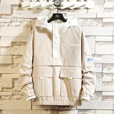 Mens di marca Giacche Uomo Nuovo Giacca Hip Hop Trendy abbigliamento da lavoro giovanile con cappuccio multi-pocket allentato cappotto del ragazzo di colore solido giacche casual Top Quanlity
