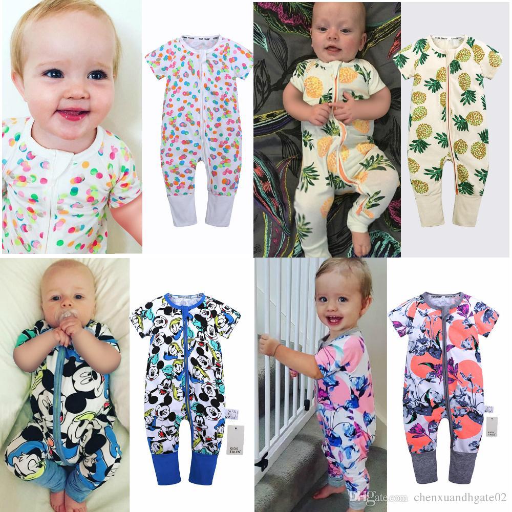 2019 Bahar Bambu Pamuk Bebek Tulum Onesies Çocuk Giyim Tulum Yenidoğan Romper Erkek Kız Kıyafetler Kısa Kollu Giysi