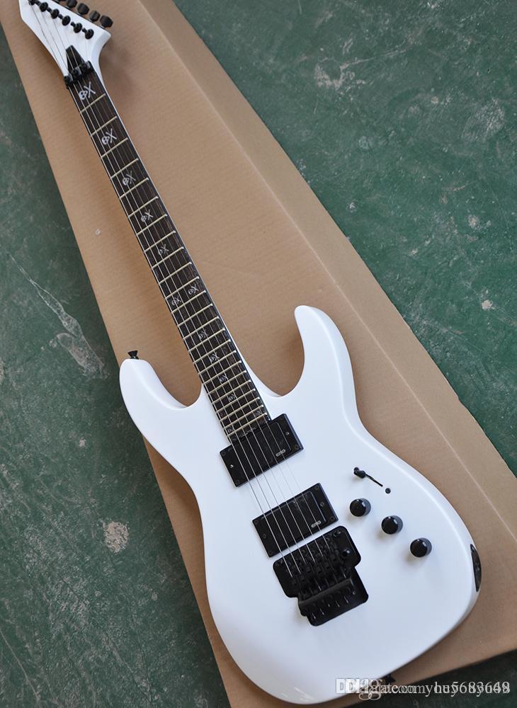 Blanco Floyd Rose Guitarra eléctrica con pastilla EMG, caoba Traste incrustaciones tretboard con el esqueleto, negro de hierro forjado, servicio de encargo
