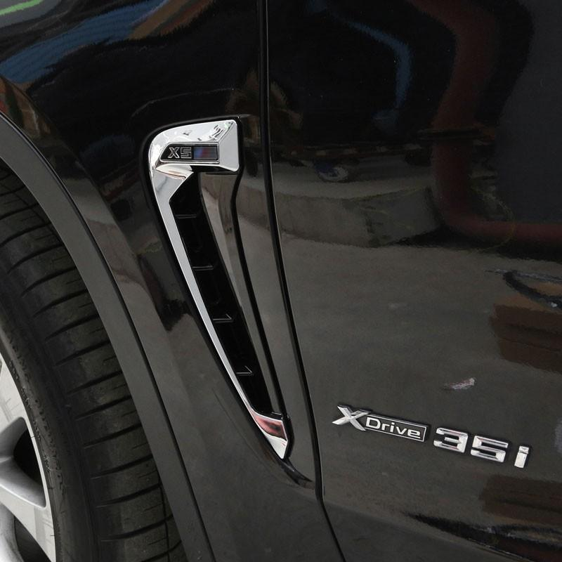 X5의 F15 2014 2015 2016 2017 자동차 스타일링 ABS 크롬 사이드 윙 펜더 에어 가이드 통풍구 프레임 트림 액세서리