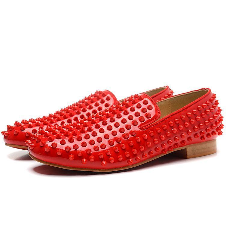 Luxo Negócios Gentleman deslizamento Flats Mulheres Homens Por preguiçosos sapatas, forma parte inferior vermelha Shoes Spikes Stud partido marca Oxfords 35-46