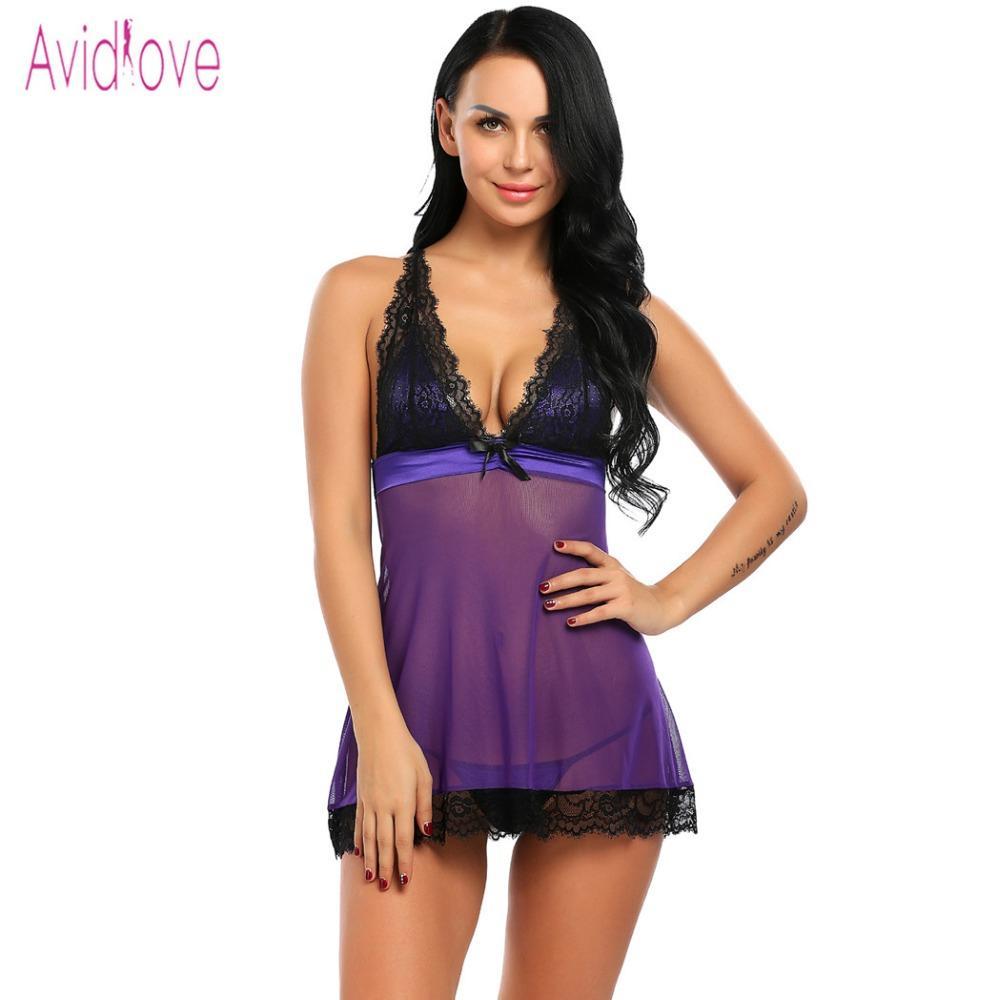 Avidlove Sex Nightgown Vestido Lingerie Sexy Trajes Mulheres Babydoll Lingerie Erótica Porno Roupa Interior Rendas Sleepwear Com G-string D18120802