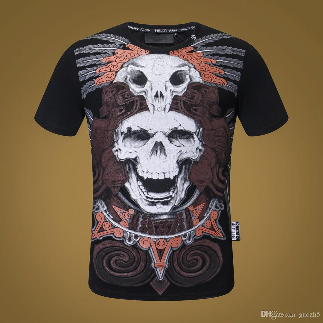 19ss 19SS Mens Designer T Shirts Múltiples cráneos Impresión de moda Anti-Shrink Quick Dry Mens Luxury Designer Clothing