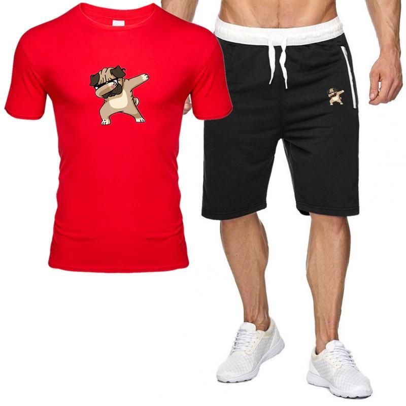 Chándal de los hombres Verano Dos piezas Conjuntos Casual Traje de la marca Hombres Imprimir Ropa deportiva Camisetas para hombre T-shirt + Shorts Fitness Gimnass Trajes de gimnasio