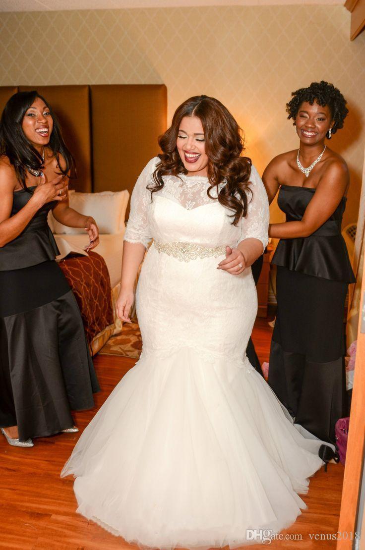 2021 Lace Plus Size Mermaid Wedding Dresses Half Sleeves ...