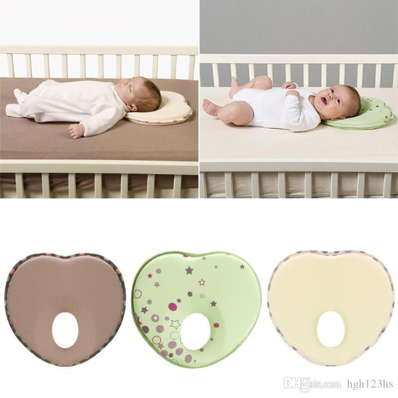 Heart Shape Pillow Newborn Baby Head Protection Anti Roll Cushion Flat Cotton Head Pillow Children's Protection Cushion Linens