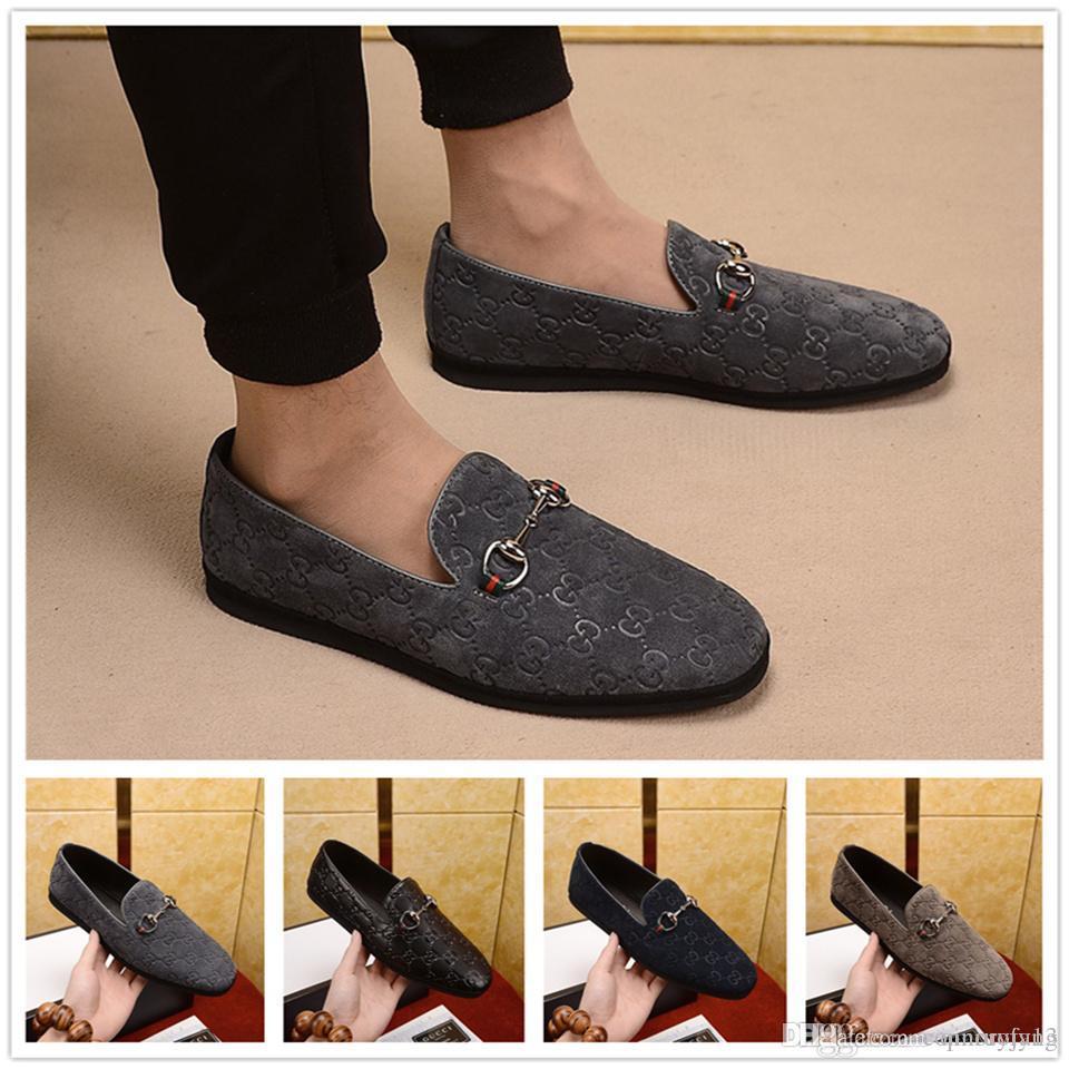 Best 4 Colour Famous Brands Luxury Shoes Men Man Dress Shoes Original Box Casual Shoe Slip-on Tap Dance Blue Black Brown Men's