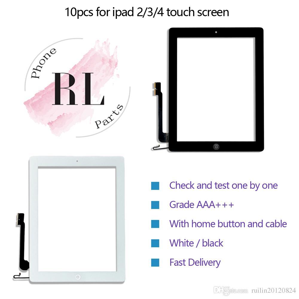 10pcs / lot pantalla táctil digitalizador para el iPad 2 3 4 Reemplazo de cristal del panel táctil Con la flexión del botón Inicio adhesivo pegatina
