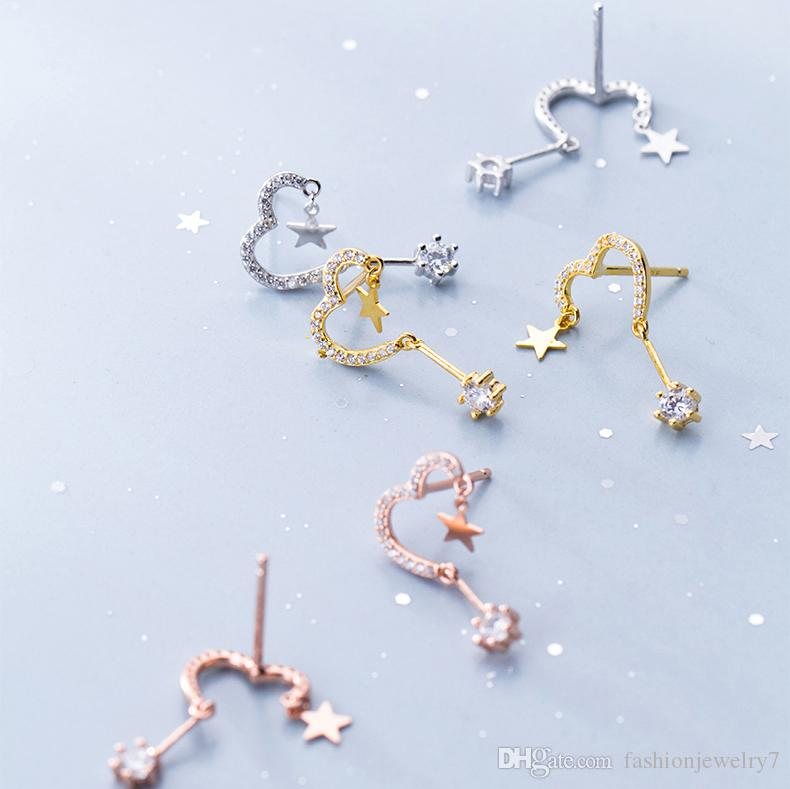 Sterling Silver Plated Two-tone Cubic Zirconia star Ear Line Threader With Moon Charm Dangle Drop Earrings