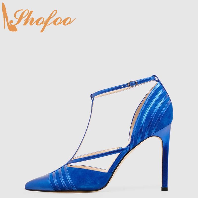 Azul Stilettos Mulheres Bombas Salto Alto finas Pointed Toe T-Strap Tamanho Grande 12 partido de Moda de Nova 15 Ladies Verão Sapatos Shofoo