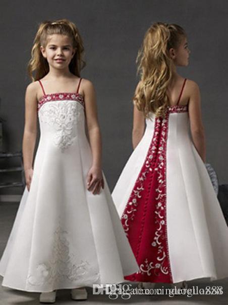 Garota Vestidos Spaghetti partido da bola Correias Nova Flor Vestido Pageant para casamento Little Girls KidsChildren Comunhão Vestido