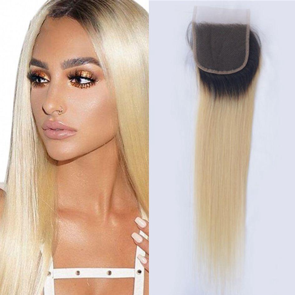 Монгольские волосы блондинка 1b/613 кружева закрытие темные корни швейцарское кружево прямые волосы закрытие 8-20 дюймов