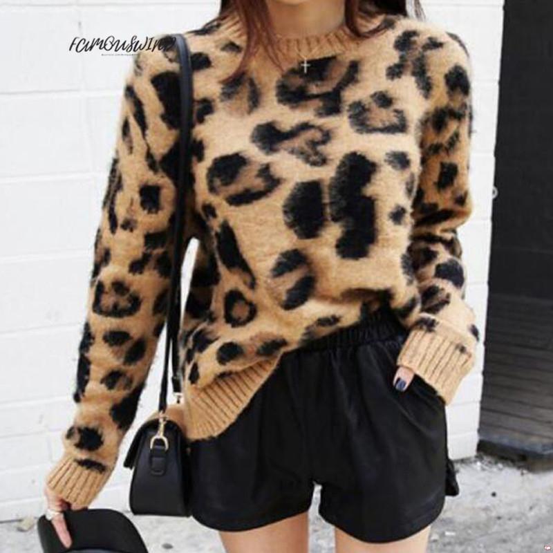인쇄 표범 캐시미어 스웨터 여성 풀오버 모헤어 스웨터 V 넥 한국어 긴 소매 니트 풀오버 목 겨울 따뜻한 점퍼 탑