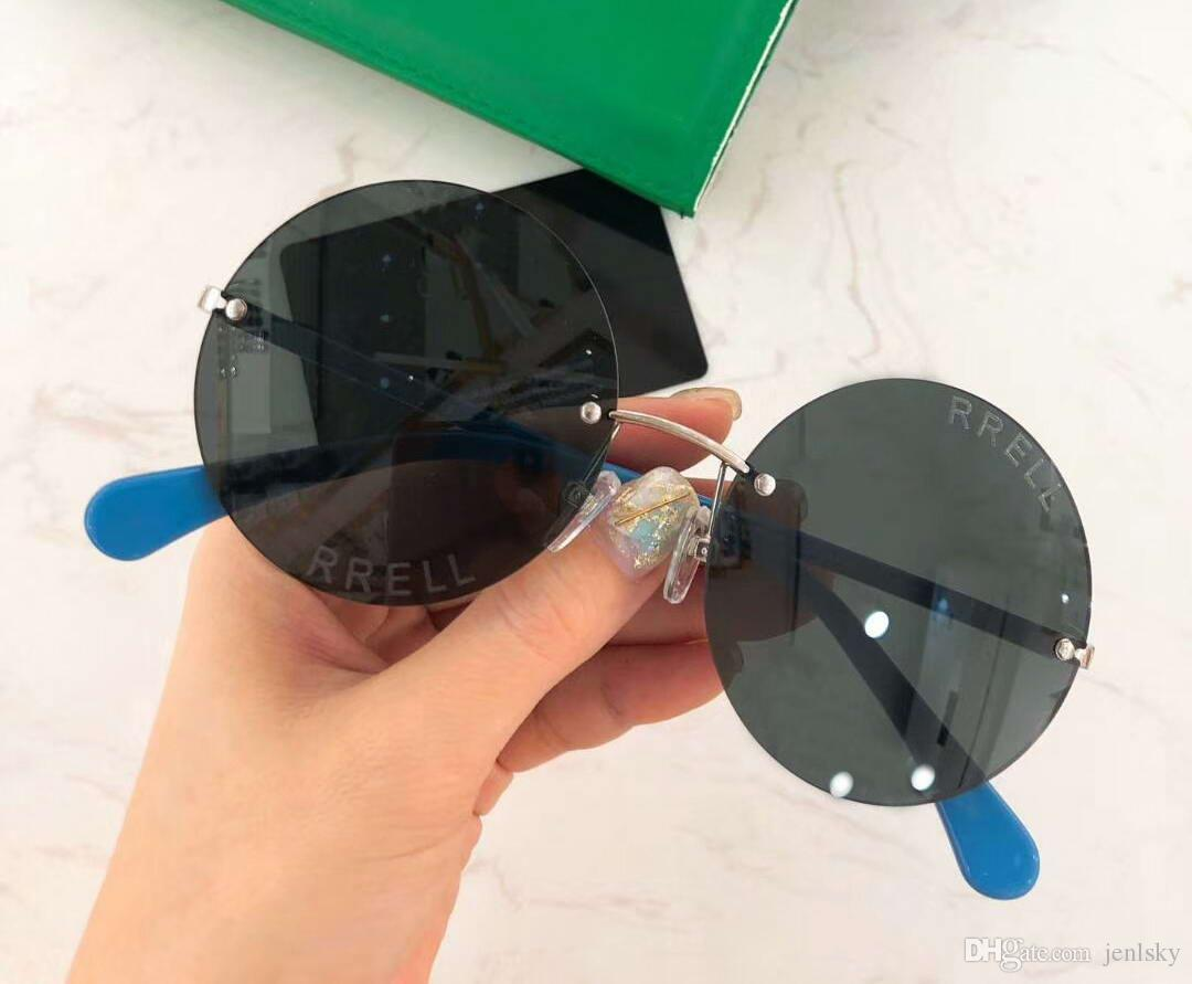 Мода Rimless Круглые солнцезащитные очки Золото синий Солнцезащитные очки 59мм Солнцезащитные очки Shades очки Новый с коробкой