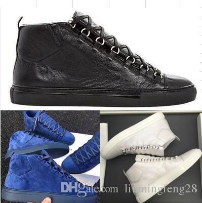 Homens clássicos de couro genuíno Mulheres Arena Marca Flats Sneakers Masculino High Top Moda Casual Lace Up Shoes Big Size 36-47eur