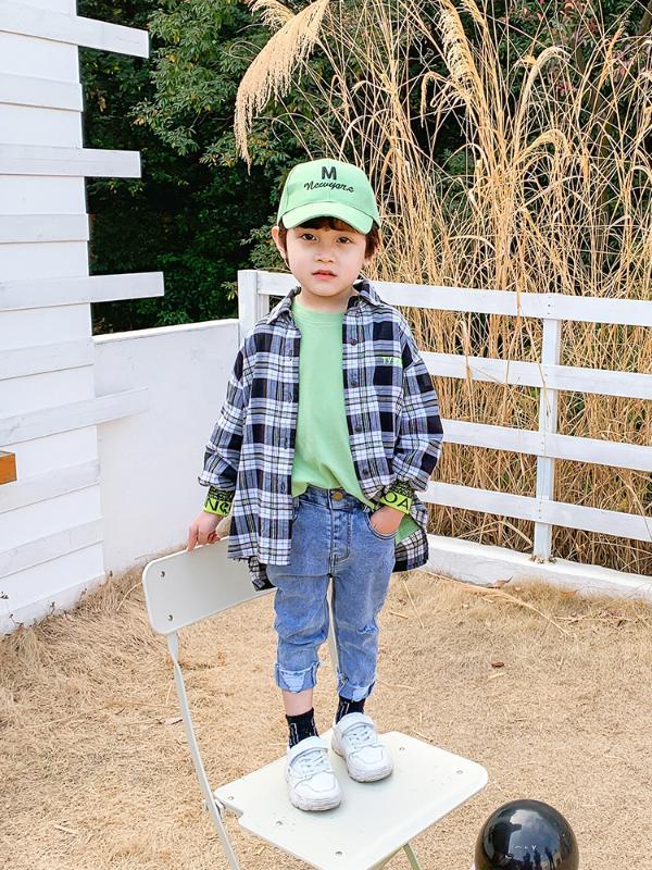 Erkek Ekose Gömlek İlkbahar ve Sonbahar Tide Çocuk Batı Tarzı İlkbahar 2020 Erkek Bebek Batı Tarzı Çocuk Giyim Gömlek