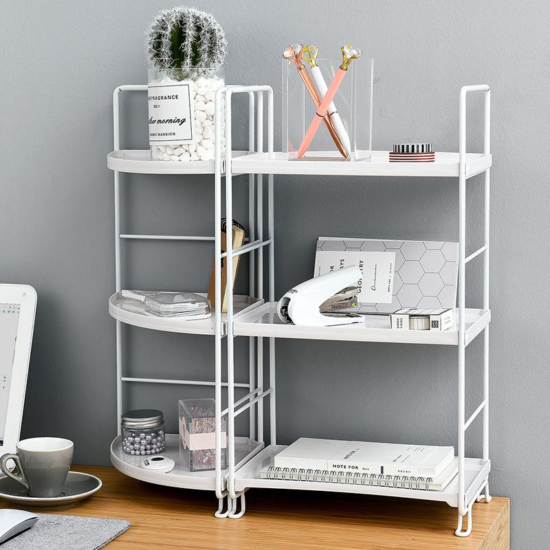 2019 3 Tiers Storage Shelf Bathroom Organizer Kitchen Rack Stand Holder  Iron Bookshelf Desktop Plastic Storage Rack Corner Shelves SH190918 From ...