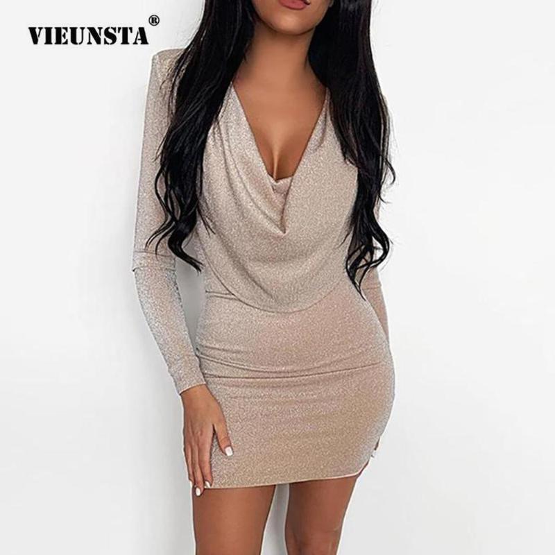 Повседневные платья Vieunsta Sexy без бретелек шарф воротник вечеринка платье женщины тонкий бодиконки мини зима осень с длинным рукавом яркий шелковый блестящий
