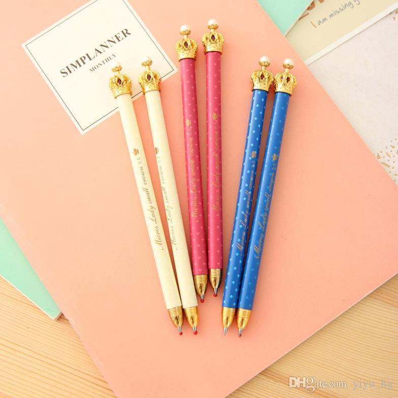 Carino penne a sfera stile corona penna scuola ufficio per bambini bambini studenti e forniture per ufficio penna penna a sfera 15 pz / lotto