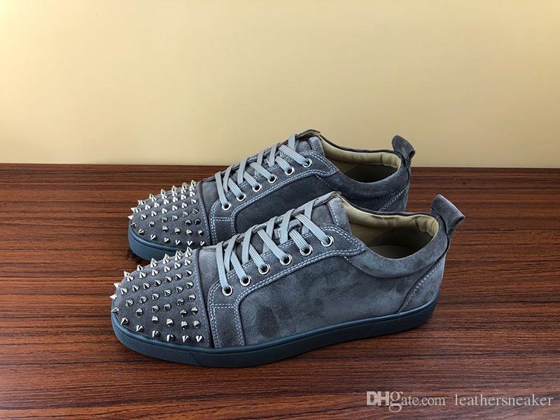 NOUVEAU Designer Baskets Bas Rouge chaussures Low Cut Suede spike Chaussures De Luxe Pour Hommes et Femmes Chaussures Parti Mariage cristal En Cuir Baskets