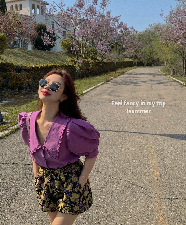 RTOKu citrouille en trois dimensions rose rouge dentelle dentelle revers vitalité violet Shorts chemise à manches bulle Net Bud élastique 2020 short