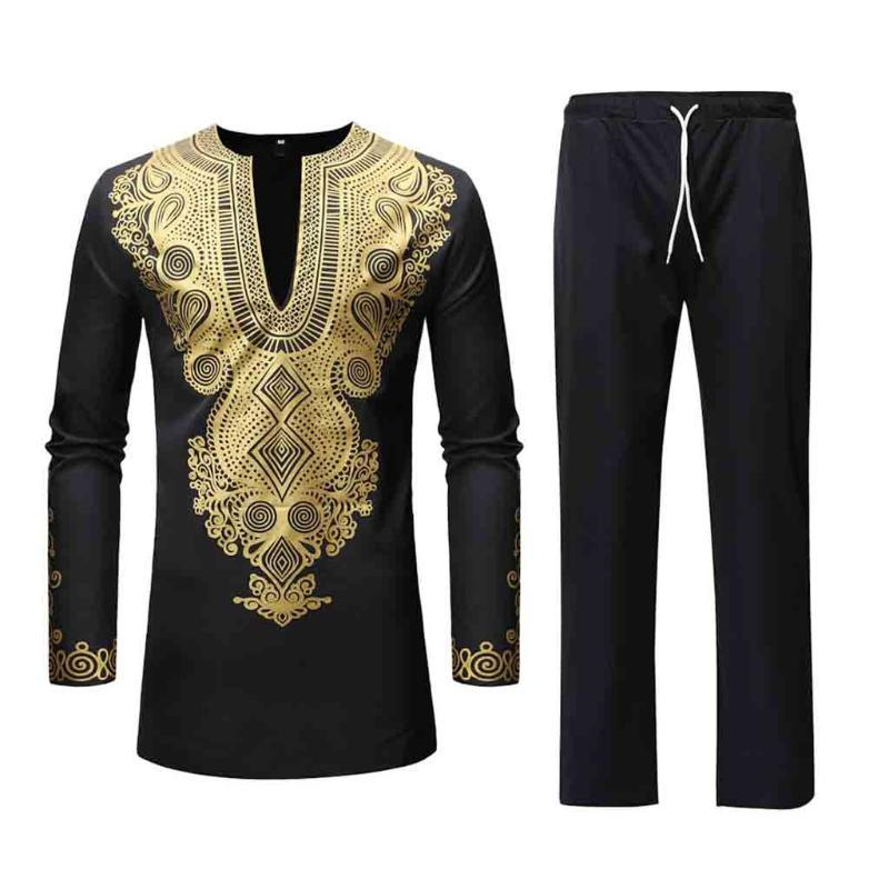 Autunno Inverno di lusso Stampa africano maniche lunghe Dashiki uomo vestito casuale elegante del partito solido KLV tuta uomo Top 2020 Nuovo