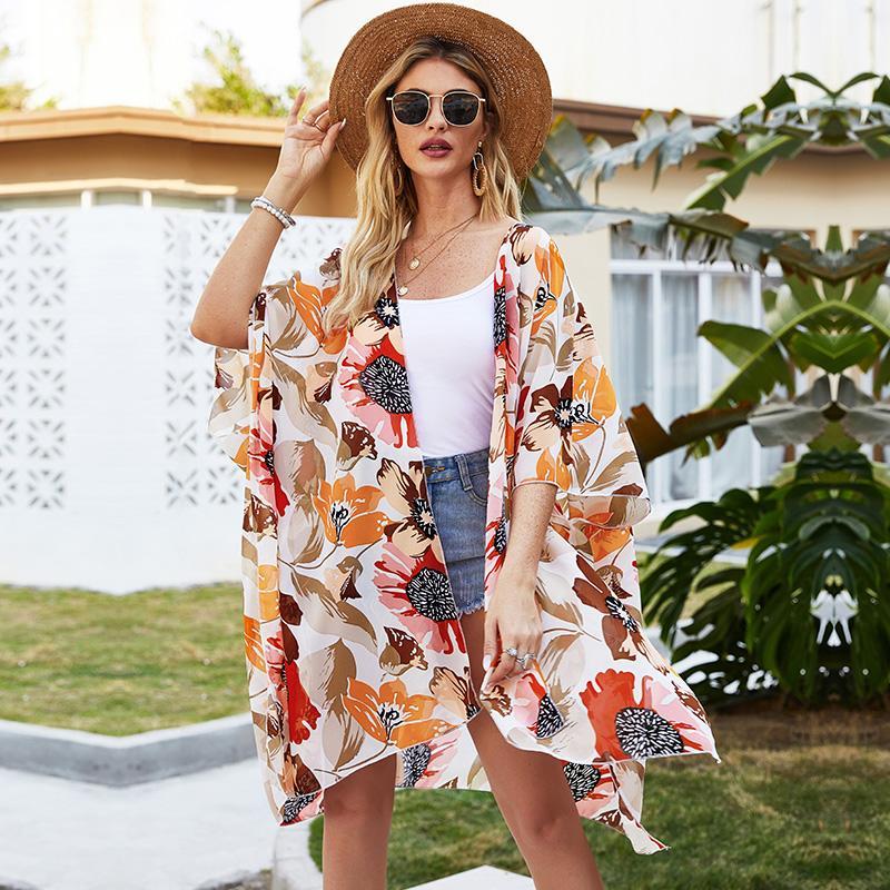 Cardigan Mode Femmes imprimé floral Cardigan Batwing demi-manchon fendu ourlet ouvert couverture de plage Beachwear Sheer avant des Hauts Kimono