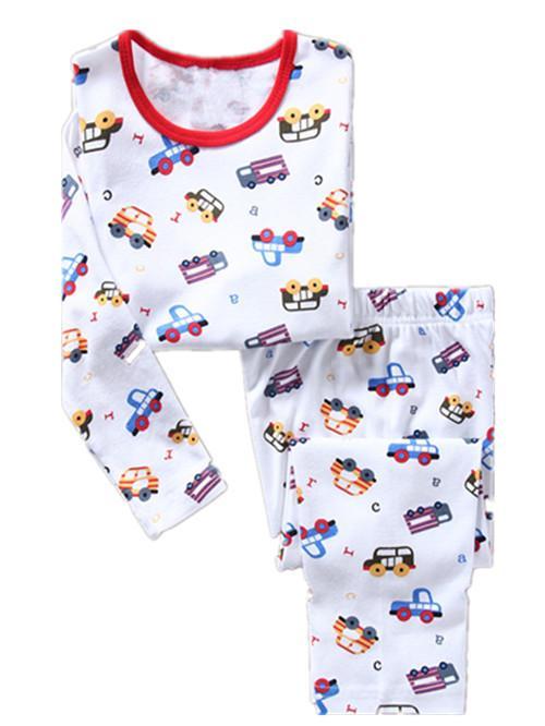 Nouveau camion pour bébé Garçons Pyjamas Costumes enfants Pyjamas manches longues enfants costumes du sport pyjama Vêtements pour bébés Set 2 à 7 ans PJS