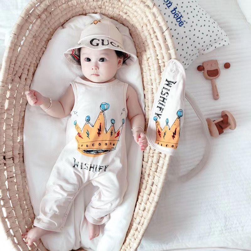 حديثي الولادة طفل الفتيان الفتيات السروال القصير يناسب الصيف مع قبعة مريلة وصندوق طفل الاطفال حللا مجموعات