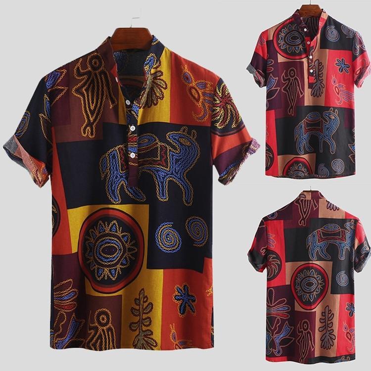 la correspondance des couleurs européennes, plus la taille à manches courtes-hommes été chemise imprimée chemise décontractée style national blouse bouton lâche
