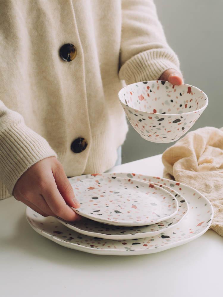 Terrazzo Tableware Dinner Placas de Sobremesa Pratos Tigela Dinning Placas Conjuntos Placas de Cerâmica de Salada Bacia