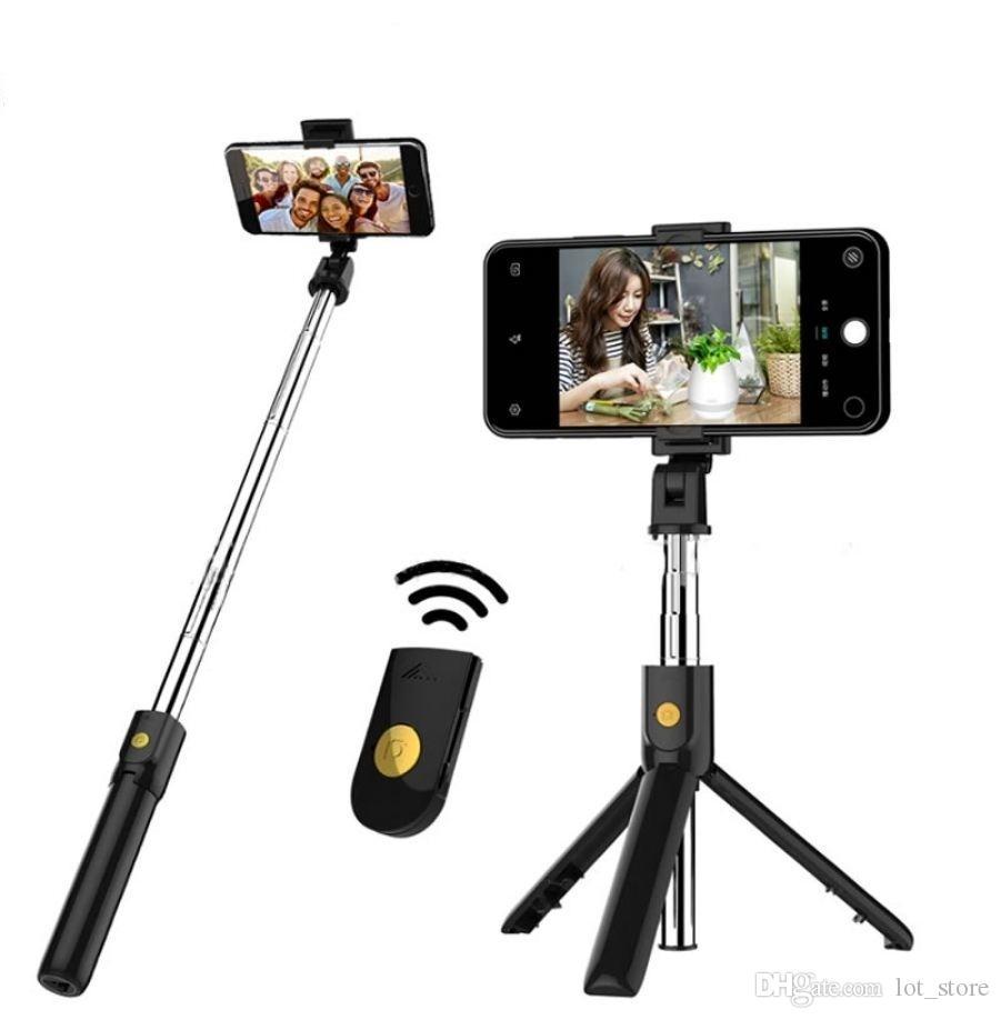 Neue 3 in 1 drahtloser Bluetooth Selfie-Stick für iphone / Android / Huawei faltbare Hand Einbeinstativ Auslöser Fernbedienung Ausziehbare Stativ (Dropshipping