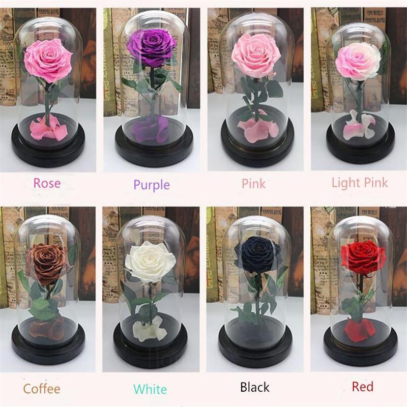 Para siempre Rose festivo flor preservada regalo del día inmortales fresca rosa roja en vidrio Madres 10 colores disponibles T200103