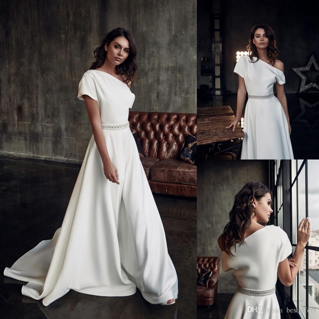 Eine Schulter-Satin-Abend-Kleider 2020 eine Linie Jumpsuit Abendkleider Vestido De Soiree Hosenanzug Abendgarderobe Individuelle