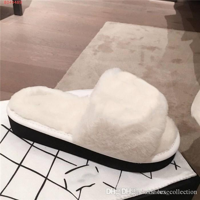 Outono e inverno de lazer chinelos de pelúcia impresso plano planas confortáveis chinelos em casa para calçados femininos clássicos de bloqueio