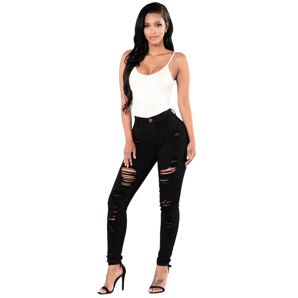 Hohe Taillen-Knopf Taschen Denim schließt weibliche Löcher Denim-dünne lange Hose Jeggings Jeans für Frauen vaqueros mujer # G6