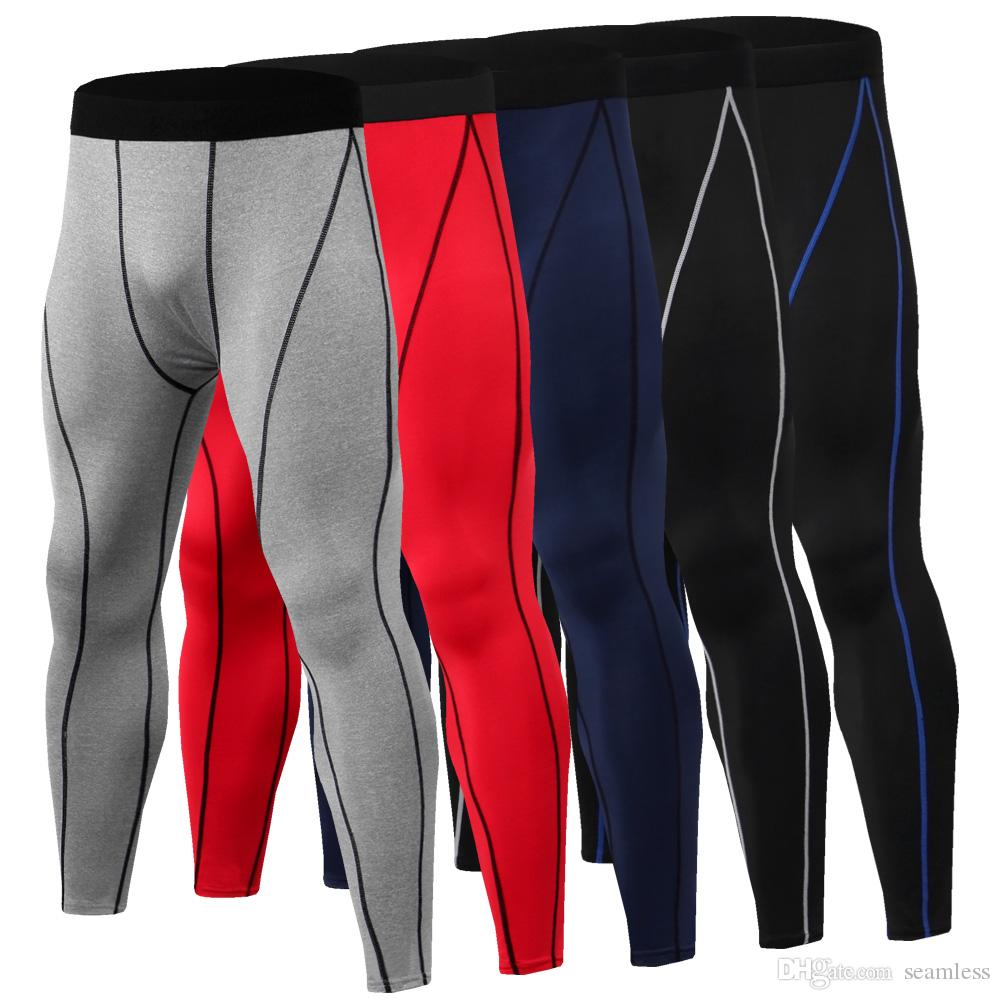 Wholesale Mens Compression Pants Sports Running Tights Basketball Gym Pants Bodybuilding Jogger Jogging Fitness Skinny Leggings Trousers