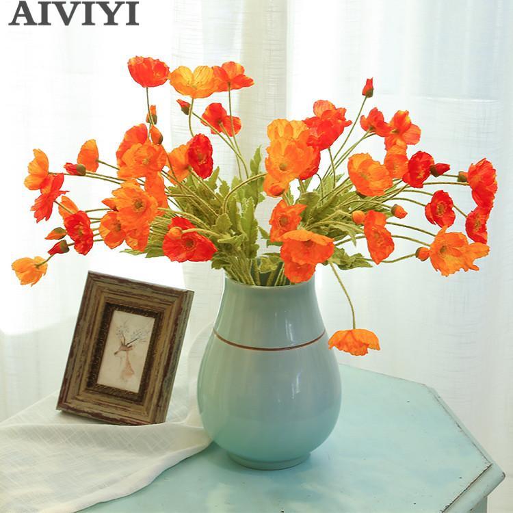 Beautiful Artificial Poppy Sunset Red Silk Flower 4 Heads Fake Poppy Wedding Flowers Garland Hair Home DIY Decoration Bouquet