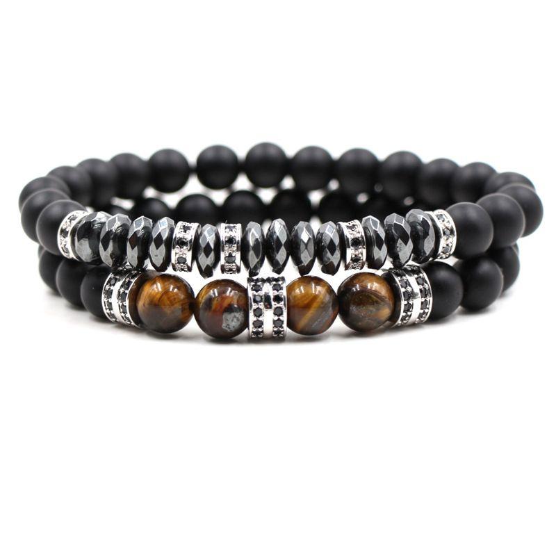 2pc/set 8mm Tigereye Stone Cubic Zirconia Bracelet Luxury Designer Jewelry Black Frosted Stone Women Bracelects Men Buddha Beads Bracelet