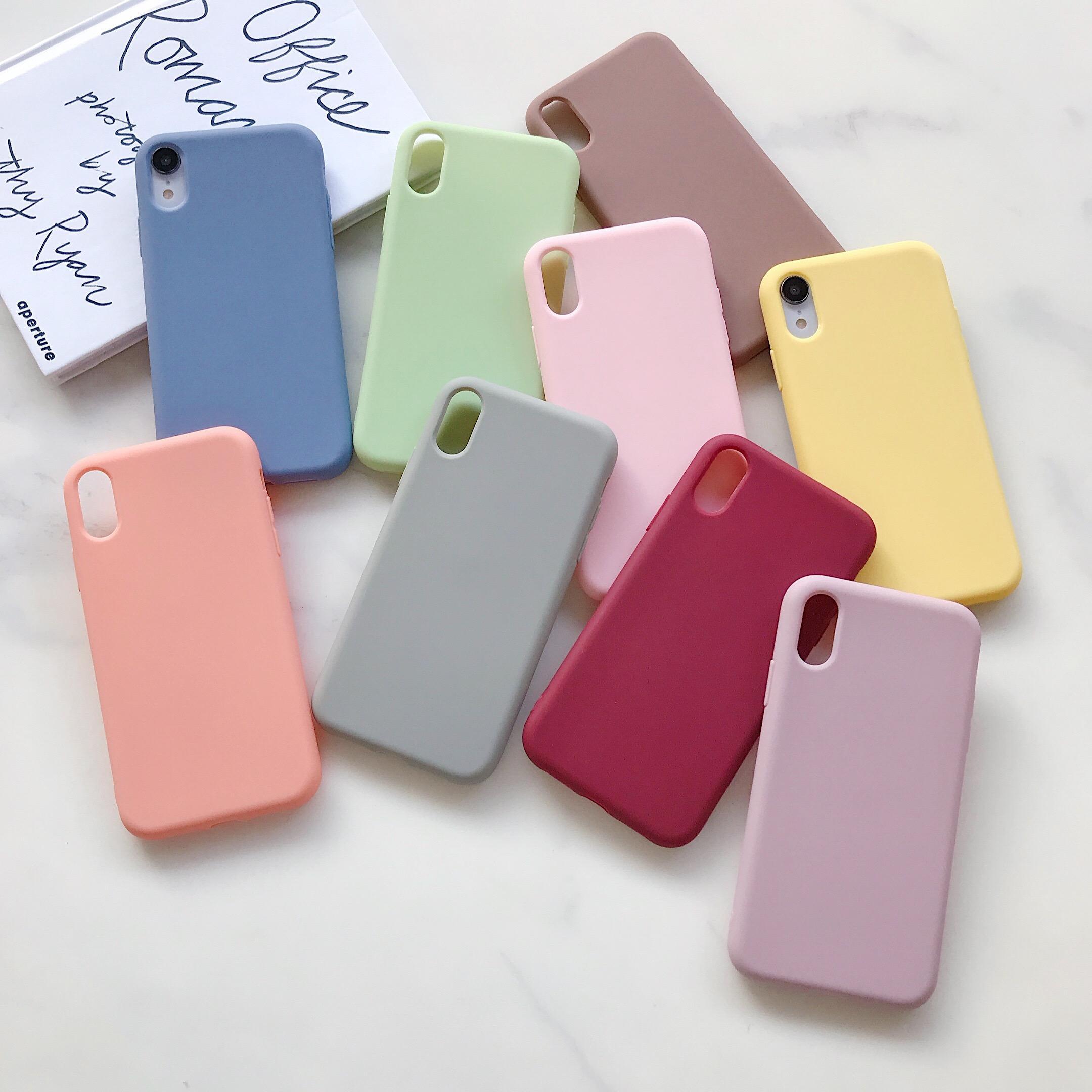Einfache Schwarz-Farben-TPU Telefon Coque für iPhone 11 Pro XS MAX XR X 8 7 6 6s Plus-Ultradünnes Silikon-weiche Süßigkeit-Farben-Fall