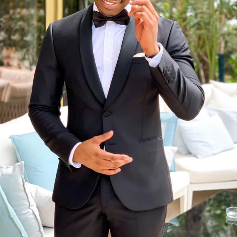 Мужские костюмы Blazers Navy Blue Blue Wedding Groom Tuxedos для мужчин Шаль откалы 2 шт. Тонкий подходящий человек набор куртки с брюками 2021 пользовательские моды CLO