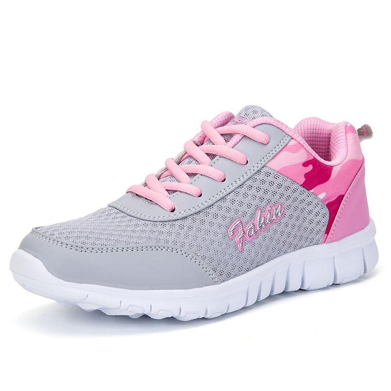 Plataforma de las mujeres zapatillas de malla transpirable suave de las señoras zapatos casuales zapatos para caminar Mujeres que corren antideslizante zapatillas de deporte